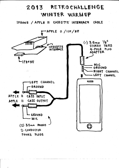Design sketch for iPhone to Apple II Cassette Interface Cable